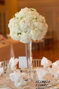sfera per centrotavola 2 fiori di peonie e ortensie